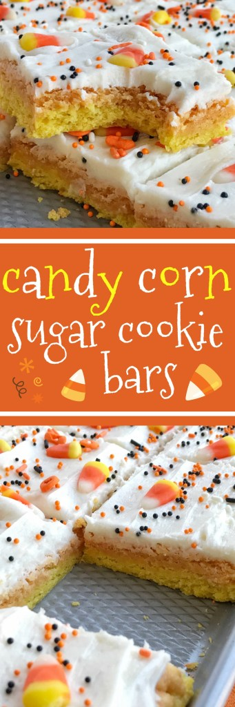 Candy corn sugar cookie bars are the best way to celebrate Halloween. Sugar cookie bars made in a sheet pan so there is plenty for everyone. Layered in yellow & orange sugar cookies and then topped with a white cream cheese icing and decorated with candy corn and Halloween sprinkles! This recipe is so addictive and will be the hit dessert of any party | togetherasfamily.com Together as Family Blog