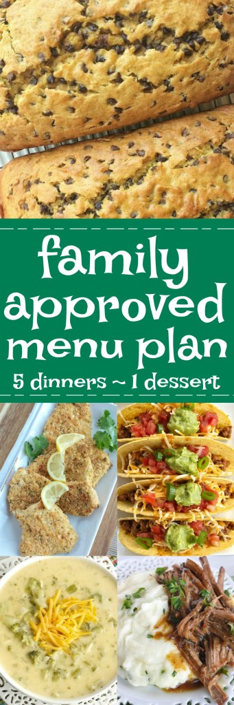 Family menu plan that everyone will love! These have all been kitchen tested over and over again, and will help you get dinner on the table. Easy, family approved, simple ingredients, and delicious food to enjoy together. Some great recipes! www.togetherasfamily.com