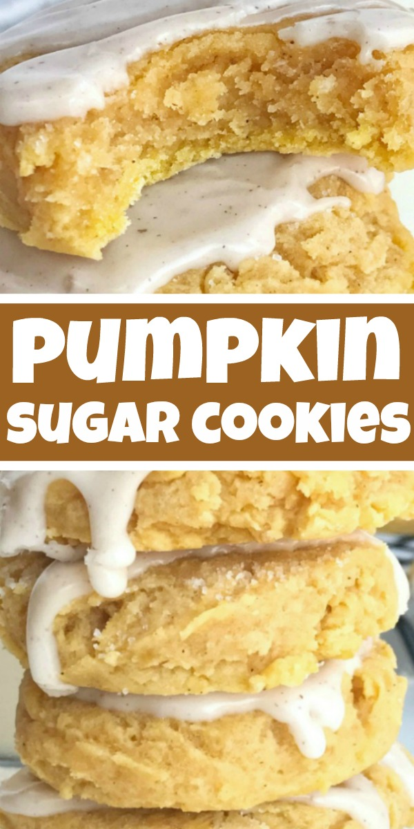 Glazed Pumpkin Sugar Cookies | Pumpkin Cookies | Pumpkin Recipe | Glazed pumpkin sugar cookies are the best way to enjoy pumpkin spice and Fall flavors! Soft-baked & thick pumpkin sugar cookies are topped with an easy pumpkin spice glaze. #pumpkin #fallrecipes #pumpkincookies #cookies #dessert #recipeoftheday