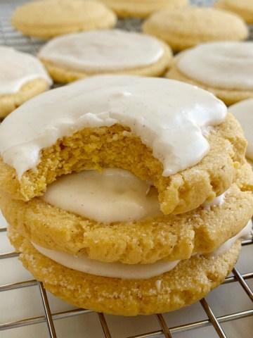 Pumpkin Sugar Cookies with a sweet pumpkin spice glaze. Soft-baked pumpkin cookies with a light and sweet pumpkin flavor.