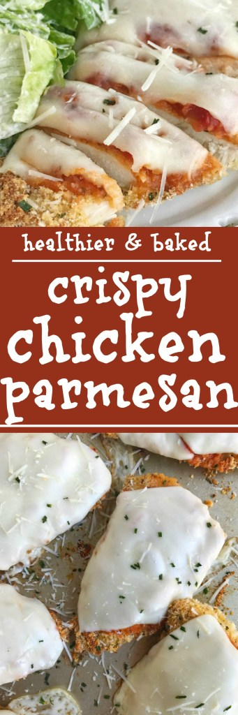 Everything you love about classic chicken parmesan but in a healthier, oven baked version. This baked crispy chicken parmesan is a simple & easy family dinner recipe that everyone will love. Crispy breadcrumb coating, melty gooey cheese, and jarred marinara sauce over tender chicken breasts | www.togetherasfamily.com #chickenrecipes #healthydinnerrecipes #chickenparmesan #bakedchickenrecipes