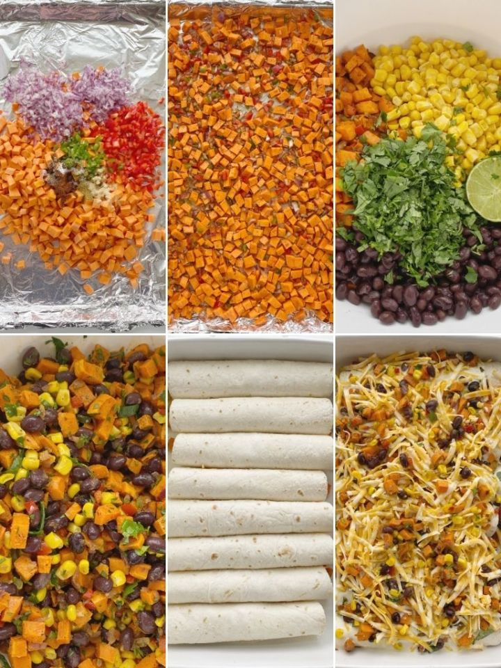 How to make sweet potato enchiladas with step by step picture instructions.
