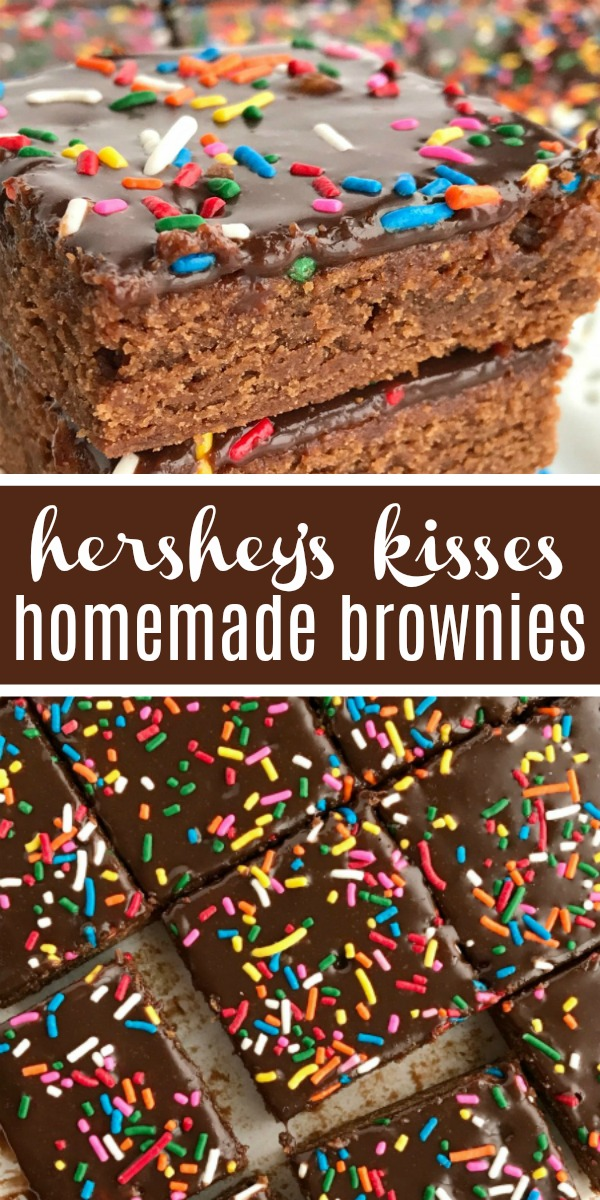 Hershey's Kisses Milk Chocolate Brownies   Homemade Brownies   Brownie Recipe   Milk chocolate homemade brownies use Hershey's Kisses for the chocolate! Homemade milk chocolate brownie base topped with a milk chocolate ganache. Rich, soft, fudgey, and sure to satisfy any chocolate craving. Change up the sprinkles for different Holidays! #dessertrecipe #christmasrecipe #holidayrecipe #dessert #easydesserts #milkchocolate #brownies #brownierecipe #homemadebrownies