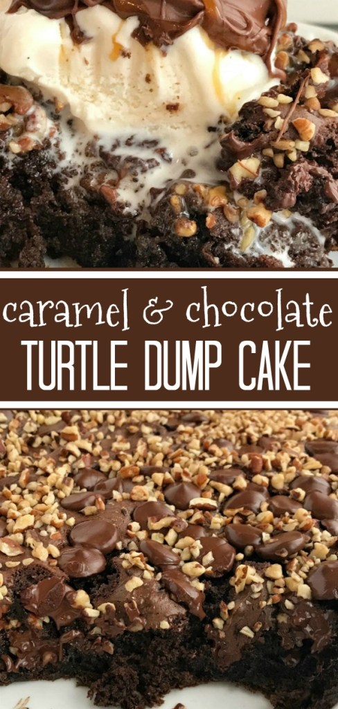 Caramel & Chocolate Turtle Dump Cake | Dessert Recipe | Dump Cake | Chocolate | Caramel | Turtle dump cake is an easy, decadent dessert that is for the serious chocolate caramel lover. Only a few easy ingredients combine in one bowl and then pour into a baking dish. So simple to prepare! Serve with a scoop of vanilla ice cream for one of the best desserts ever. #easydessertrecipe #chocolate #cake #caramel