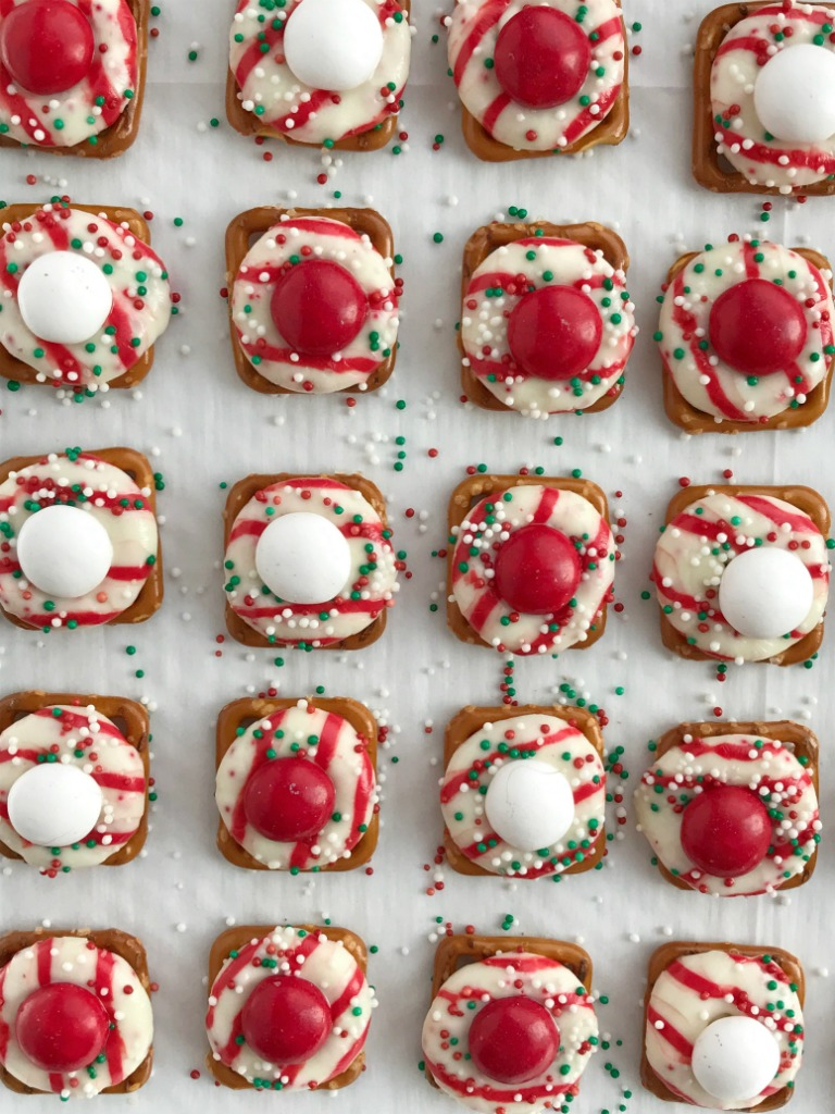 peppermint bark pretzel bites white chocolate mm candy perfect for christmas cookie plates or