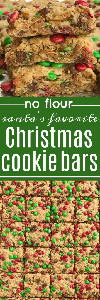 No Flour Monster Cookie Bars | Celebrate the holidays and make Santa's favorite Christmas cookie bars! No flour Christmas cookie bars are loaded with oats, peanut butter, chocolate, and festive green & red mini m&m's. Thick, chewy bars that everyone loves and they only take minutes to make | www.togetherasfamily.com #christmascookies #noflourdesserts #monstercookiebars #noflourbars #cookiebarrecipes #christmasrecipes #christmascookierecipes