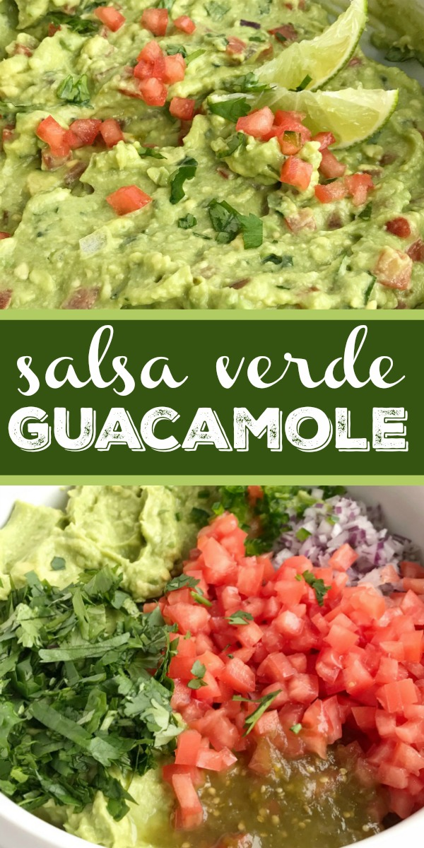 Salsa Verde Guacamole | Guacamole Recipe | Appetizer | Salsa verde guacamole is loaded with tomato, cilantro, smashed avocado, jalapeno and salsa verde. Serve with tortilla chips for a delicious party appetizer and a fan favorite for a Super bowl game day party. Serve as a topping for tacos, burrito bowls, and nachos. #guacamole #appetizers #superbowlfood #footballfood #recipeoftheday #easyrecipe