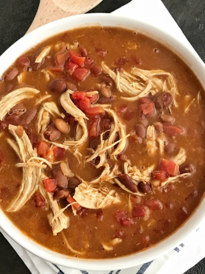 Chicken Tortilla Soup Recipe   The best 5 ingredient chicken tortilla soup only takes 20 minutes to make! One pot is all you need for this delicious and creamy tortilla soup. Combine 5 ingredients + some spices and let it simmer on the stove top. Top with cheese, avocado, chips, and sour cream.