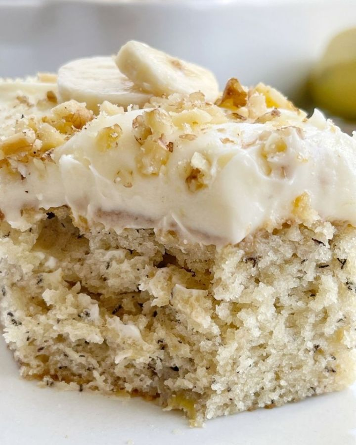 Banana Bread Cake topped with a thick cream cheese frosting.
