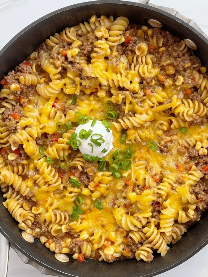 A picture for one pan bbq pasta skillet made with ground beef.