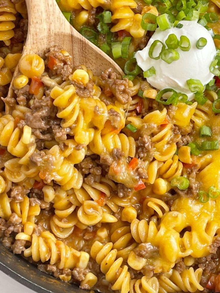 One pan beef bbq pasta skillet dinner recipe is ready in 30 minutes.