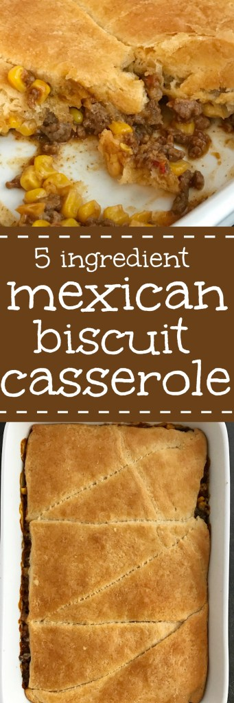 5 ingredient Mexican biscuit casserole is an easy, 30 minute casserole that is kid-approved! A hearty, ground beef Mexican filling is topped with cheese and flaky buttery biscuit dough. Serve with your favorite taco toppings for an easy family dinner   #easydinnerrecipes #casseroles #dinner #dinnerrecipe