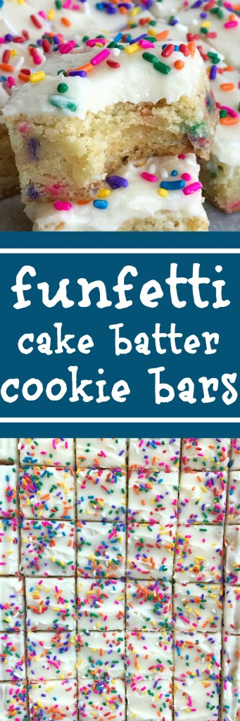Funfetti Cake Batter Cookie Bars | Sugar Cookie Bars | Funfetti | Cake Batter | Dessert Recipes | Funfetti cake batter cookie bars are a sweet and tasty treat that only need 5 ingredients! So easy to make, loaded with colorful sprinkles, and tastes exactly like cake batter. These will be a hit with everyone | #dessertrecipes #easydessertrecipes #funfetti #cakebatterrecipes