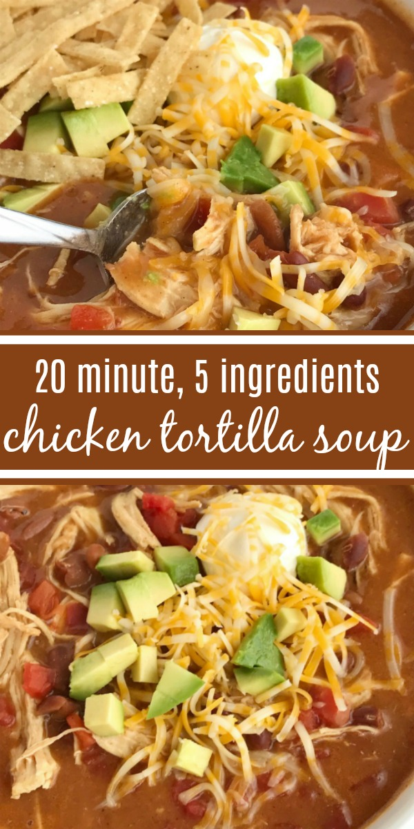 {5 INGREDIENT} CHICKEN TORTILLA SOUP | The best 5 ingredient chicken tortilla soup only takes 20 minutes to make! One pot is all you need for this delicious and creamy tortilla soup. Combine 5 ingredients + some spices and let it simmer on the stove top. Top with cheese, avocado, chips, and sour cream. #souprecipes #chickentortillasoup #easydinnerrecipes #dinnerideas #chicken #recipeoftheday