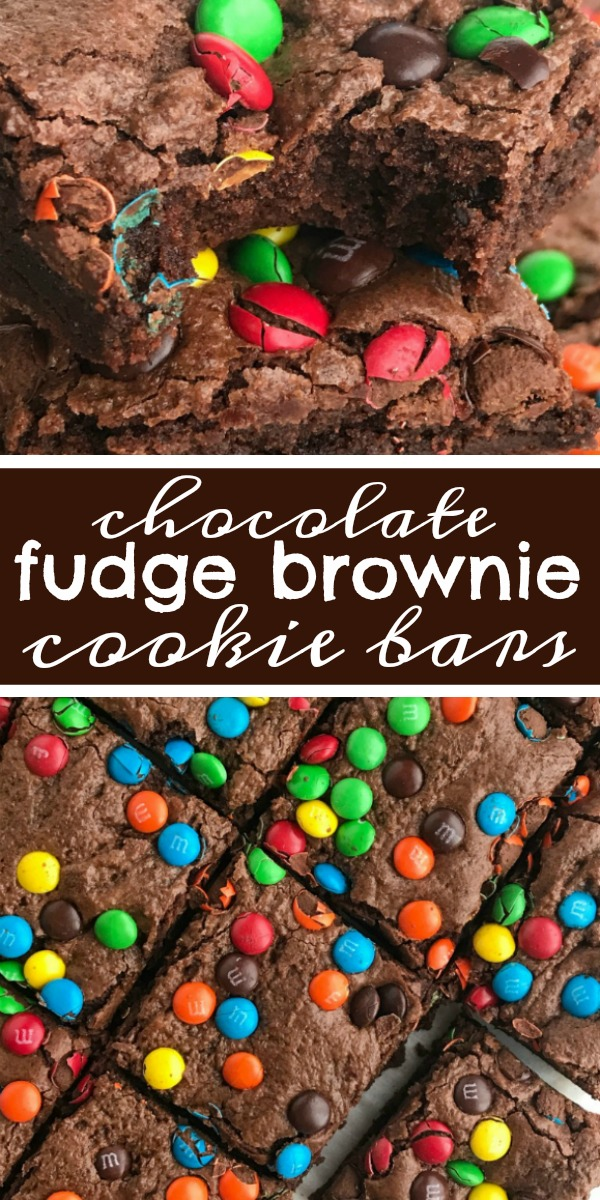 Chocolate Fudge Brownie Cookie Bars | Brownies | Cookie Bars | Chocolate Recipe | Chocolate fudge brownie cookie bars are everything you love about fudgey brownies but with the texture of a cookie bar! These brownie cookie bars will satisfy any chocolate craving! Top with colorful m&m's for a fun and sweet dessert. #chocolate #chocolaterecipes #brownies #dessert #dessertrecipes #recipeoftheday