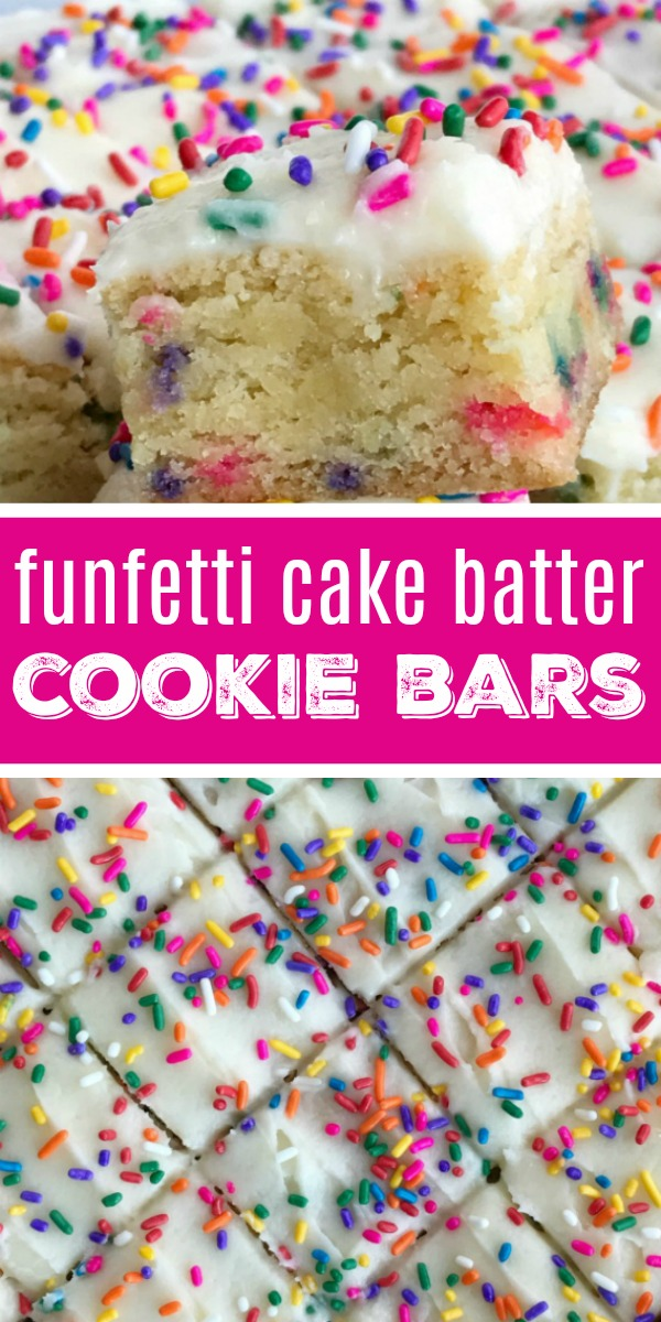 Funfetti cake batter cookie bars are a sweet and tasty treat that only need 5 ingredients! So easy to make, loaded with colorful sprinkles, and tastes exactly like cake batter. These will be a hit with everyone.