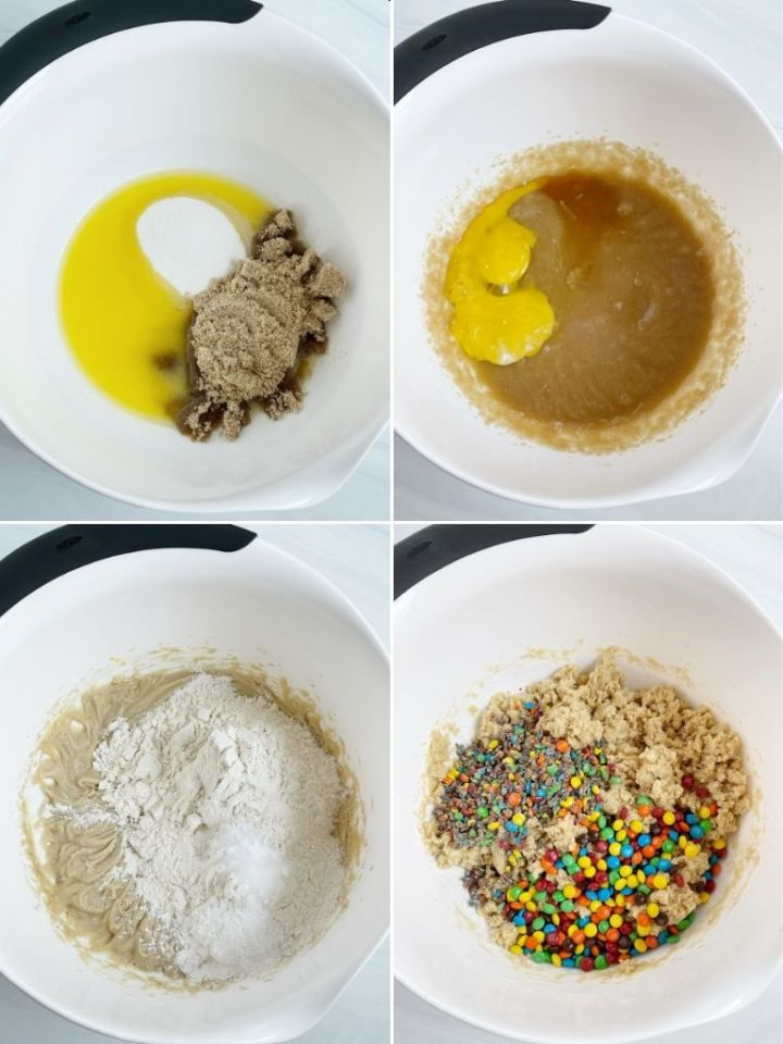 How to make m&m cookies with a step by step picture collage.