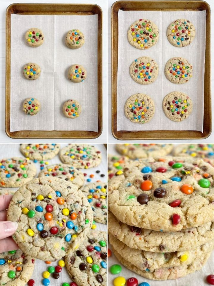 How to make m&m cookies with a step by step picture collage with four pictures of process shots.