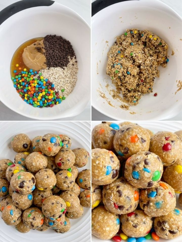 How to make monster cookie energy balls with step by step photo instructions.