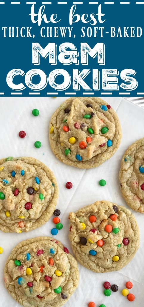 The Best M&M Cookies | These cookies really are the best m&m cookies! Big cookies that are thick, chewy, and soft-baked and loaded with mini m&m candy. There are a few tricks that make these cookies the best. #cookies #cookierecipes #mmcookies #dessertrecipes #recipeoftheday