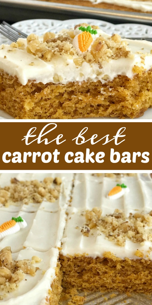 Sheet Pan Carrot Cake Bars | Carrot Cake Bars | Sheet pan carrot cake bars are made with a surprise ingredient that makes them so moist, soft, and easy to make - carrot baby food! No shredding and peeling carrots needed for these delicious carrot cake bars that feed a crowd. Top them with a whipped cream cheese frosting and garnish with chopped walnuts. #dessertrecipe #recipeoftheday #carrotcake #carrotcakerecipes #easterrecipe #easydessertrecipes