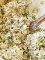 Recipe for dill pickle chicken salad. A chicken salad full of chicken, dill pickles, and green onion with a cream cheese dill pickle dressing.