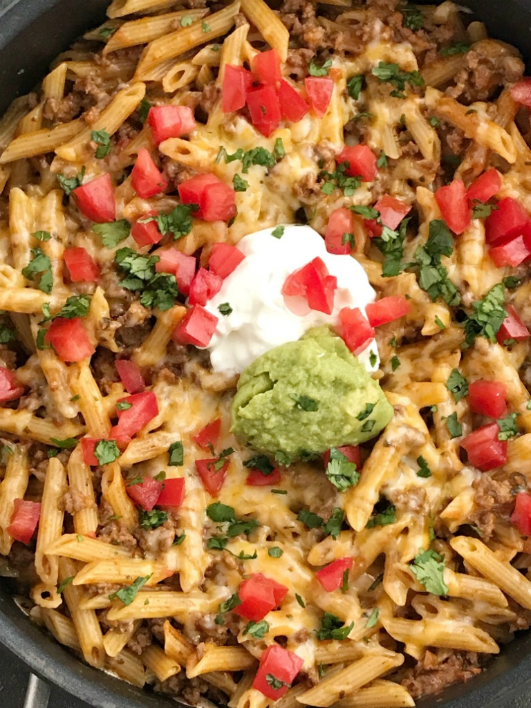 Beef Taco Pasta Skillet Together As Family