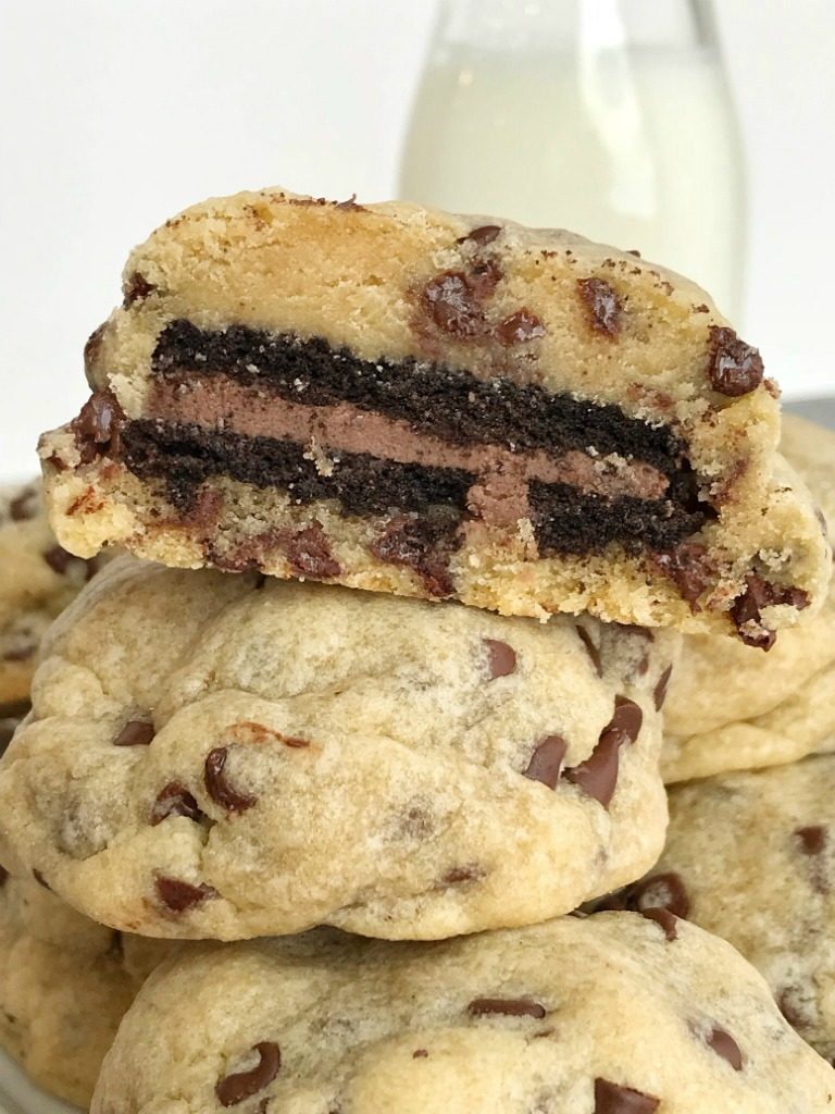 Chocolate Oreo Stuffed Chocolate Chip Cookies