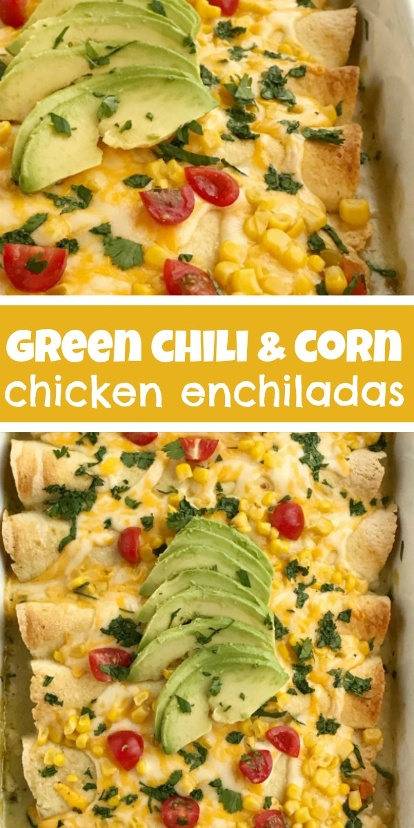 Green Chili & Corn Chicken Enchiladas   Chicken Enchiladas   Dinner Recipes   Green chili & corn chicken enchiladas are an easy family dinner that can be on the table in almost 30 minutes! Use leftover chicken or a rotisserie chicken, canned corn, cheese, and creamy green chili enchilada sauce. Easy and simple ingredients for a delicious dinner. #dinner #dinnerrecipes #chicken #enchiladas #mexicanfood #easydinnerrecipes