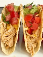 Slow Cooker Enchilada Chicken Tacos | Slow Cooker | Crock pot | Chicken Tacos | Shredded Chicken Recipes | Enchilada chicken tacos are made in the slow cooker (or crock pot) and only require 5 ingredients! Chicken breasts, red and green enchilada sauce, taco seasoning, and green chilies. The shredded enchilada chicken is so tender and tastes like enchiladas. It makes the perfect filling for tacos, soft tacos, burritos, enchiladas, or a taco rice bowl! #chickenrecipes #crockpot #slowcookerrecipes #mexicanfood #easydinnerrecipes