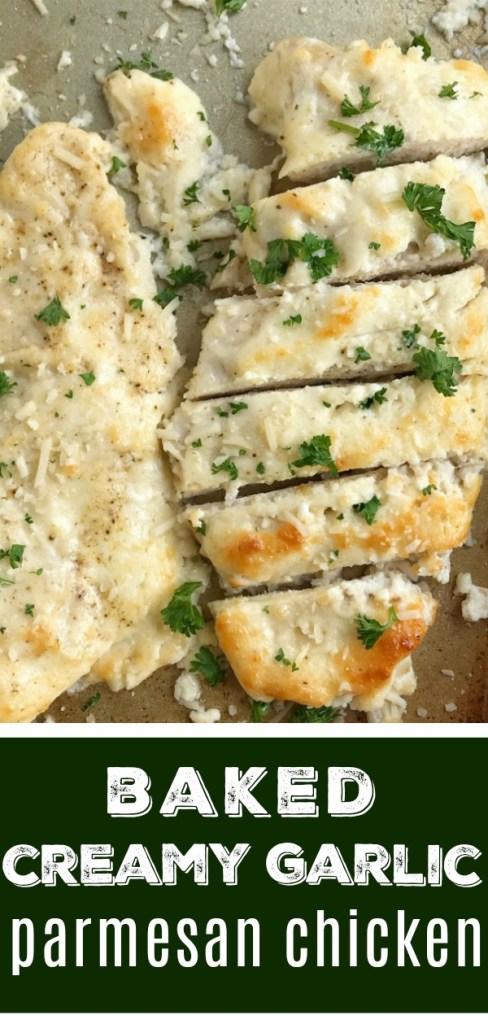 Baked Garlic Parmesan Chicken   Baked Chicken   Chicken Recipes   Baked garlic parmesan chicken is an easy dinner that everyone will LOVE! #easydinnerrecipes #chicken #dinner