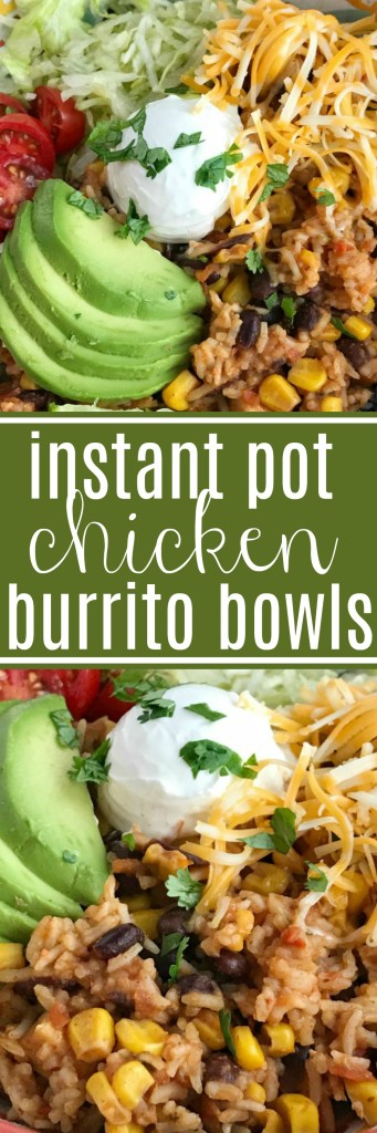 Instant Pot Chicken Burrito Bowls | Instant Pot Recipe | Chicken Recipes | Instant Pot Chicken Recipes | Burrito Bowls | Instant Pot chicken burrito bowls can be on the dinner table in 30 minutes! All your favorite things about a burrito but made into a delicious burrito bowl. Top with lettuce, cheese, tomato, avocado for a quick & easy family approved dinner. If you're looking for the best Instant Pot chicken recipe then this is it! #instantpotrecipe #instantpot #chicken #dinner #easydinner