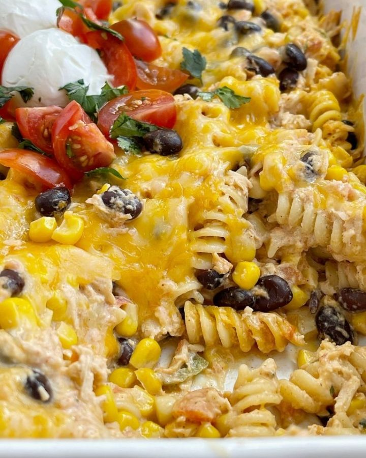Casserole recipe with chunks of chicken, black beans, and corn in a cheesy one dish recipe.