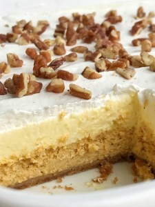 Pumpkin Cheesecake Layered Pudding Dessert   Pumpkin Dessert   Pumpkin Cheesecake   Pumpkin cheesecake pudding dessert is a layered dessert made in a 9x13 baking dish. Cinnamon cracker crust, topped with a creamy pumpkin cheesecake, fluffy vanilla pudding, and Cool Whip. Garnish with pecans for the best pumpkin dessert this Fall. #pumpkin #pumpkinrecipe #pumpkincheesecake #cheesecake #dessertrecipe #fallrecipe #pumpkinspice