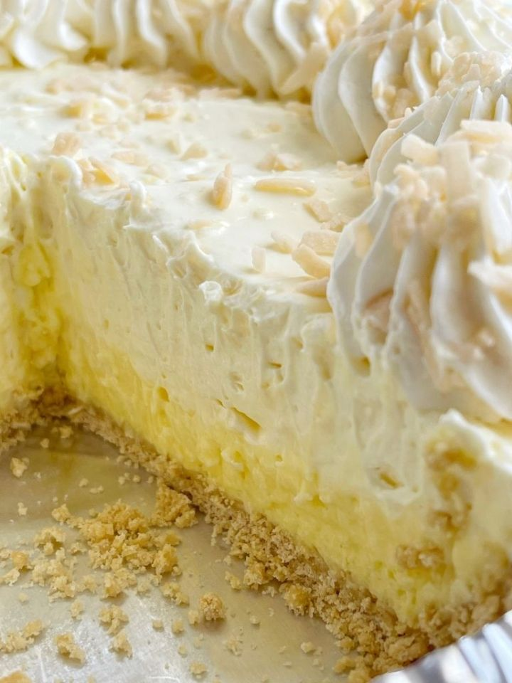No bake coconut cream pie recipe with toasted coconut on top.