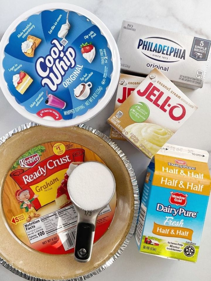 Ingredients needed to make no bake coconut cream pie