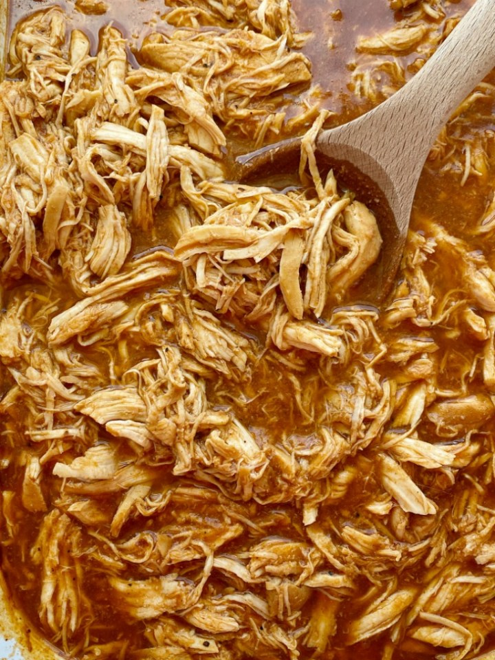 BBQ Root Beer Chicken is an easy 6 ingredient crock pot recipe! Perfectly moist, tender, fall apart shredded chicken that's perfect for sandwiches.