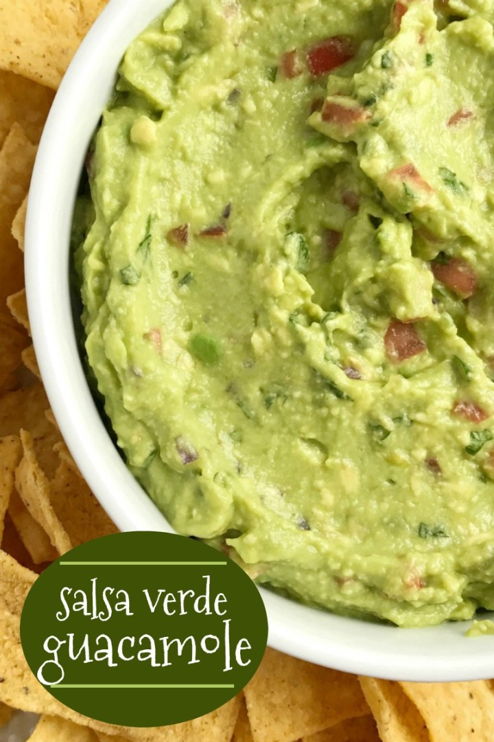 Salsa Verde Guacamole | Guacamole Recipe | Dip Recipe | Appetizers | Guacamole gets so much flavor from salsa verde, tomato, cilantro, smashed avocado, and jalapeno. Serve with tortilla chips for a delicious party appetizer recipe and a fan favorite for a Super bowl game day party. #guacamolerecipe #diprecipes #appetizers #superbowlrecipes #guacamole #avocado #recipeoftheday