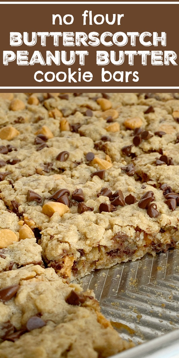 Chewy Butterscotch Peanut Butter Cookie Bars | Cookie Bar Recipe | No Flour | Flourless | Chewy butterscotch peanut butter cookie bars have no flour! Hearty, chewy, soft baked, and loaded with chocolate and butterscotch chips. This cookie bar recipe makes lots of cookie bars so it's perfect for snacks (freeze extras) or big gatherings. #dessertrecipe #cookiebars #noflourcookies #recipeoftheday #easyrecipes #peanutbutter