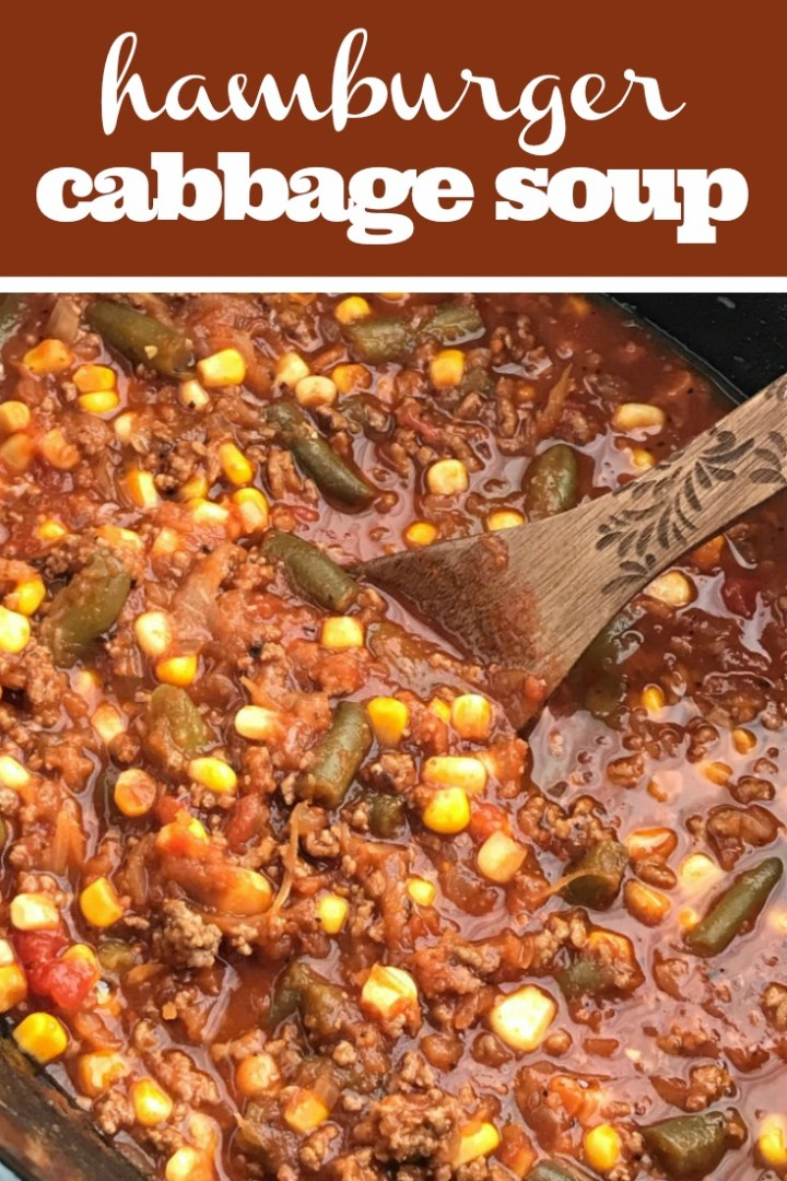 Hamburger Cabbage Soup   Cabbage Soup Recipe   Soup   Slow Cooker   Crock Pot   A twist to the classic cabbage soup recipe. Vegetable tomato base loaded with lean ground beef, frozen vegetables, shredded cabbage, and seasonings! This is a cabbage soup that is actually delicious! #cabbagesoup #healthyrecipe #slowcooker #crockpot #recipeoftheday #soup #easyrecipe