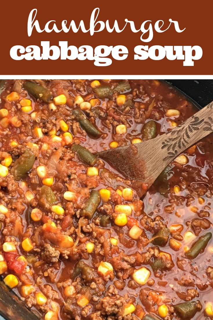 Hamburger Cabbage Soup | Cabbage Soup Recipe | Soup | Slow Cooker | Crock Pot | A twist to the classic cabbage soup recipe. Vegetable tomato base loaded with lean ground beef, frozen vegetables, shredded cabbage, and seasonings! This is a cabbage soup that is actually delicious! #cabbagesoup #healthyrecipe #slowcooker #crockpot #recipeoftheday #soup #easyrecipe
