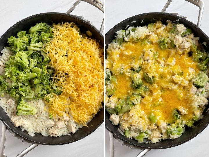 More pictures for how to make cheesy chicken broccoli rice