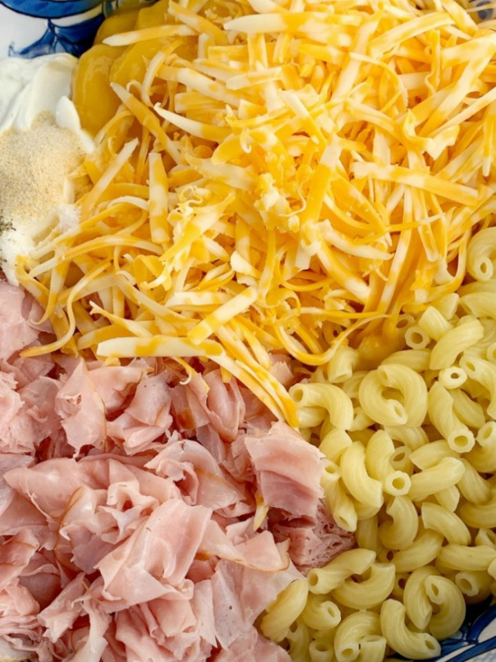 Ingredients you need to make macaroni and cheese ham casserole.