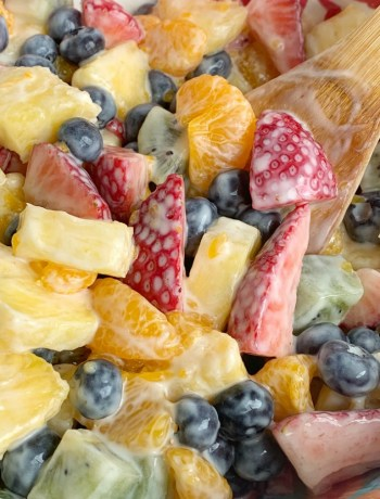 Lemon Yogurt Fruit Salad | Fruit Salad | Salad Recipe | Fruit salad with a creamy lemon yogurt dressing. Fresh pineapple, strawberries, blueberries, kiwi, and canned mandarin oranges are drizzled with a fresh lemon juice & lemon yogurt dressing. #fruitsalad #healthyrecipe #sidedish #summerrecipes #saladrecipes