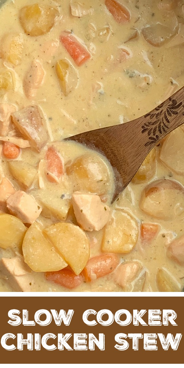 Crock Pot Creamy Chicken Stew | Chicken Stew | Stew Recipes | Slow Cooker Recipes | Chicken Stew made right in the slow cooker! So simple to make, creamy, delicious, comfort food, that the entire family will devour. Carrots, potatoes, and chunked chicken is cooked in a creamy sauce with ranch seasoning, chicken broth, cream of chicken soup, and sour cream in the crock pot. #stewrecipe #recipeoftheday #dinnerideas #slowcooker #crockpot #chickenrecipes