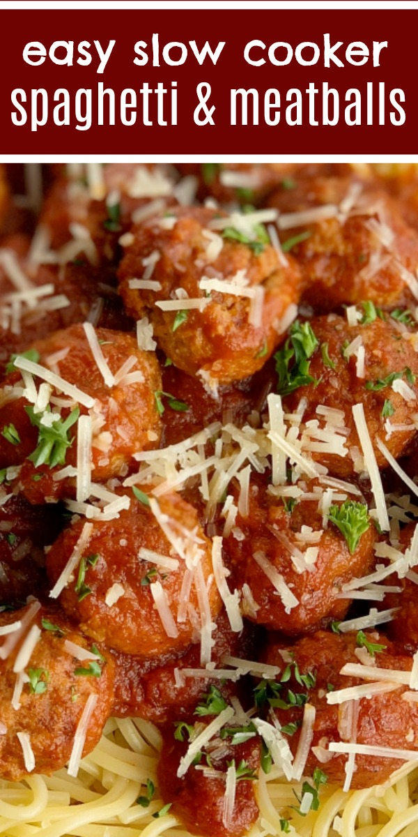 Easy Slow Cooker Spaghetti & Meatballs | Spaghetti Meatballs Recipe | Dinner Recipes | Classic spaghetti meatballs that happen to be so easy to make right in a slow cooker! Frozen meatballs, pasta sauce, stewed tomatoes, and spices simmer all day for an at home restaurant taste. #spaghetti #dinner #meatballs #italianfood #recipeoftheday #dinnerrecipes #easydinnerrecipes