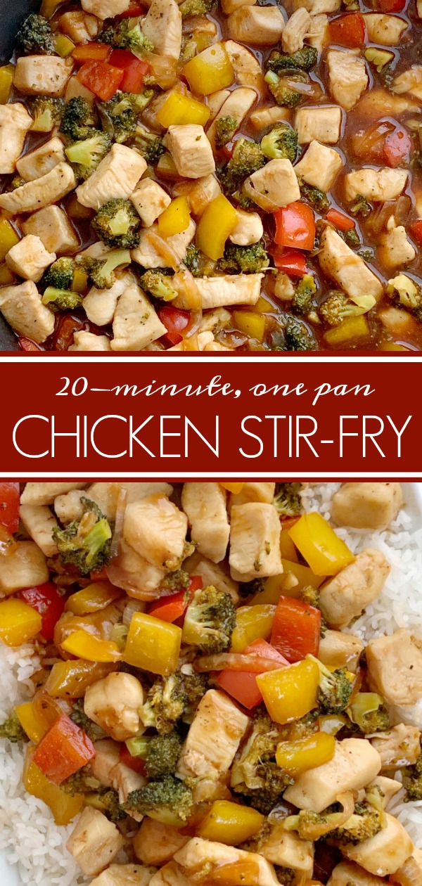 20 Minute, One Pan Stir-Fry Recipe | This family favorite Stir-Fry Recipe only needs one pan and 20 minutes! Chunks of tender chicken, fresh veggies in a deliciously unique (and easy!) homemade stir-fry sauce. Serve over rice for a family favorite dinner. #dinnerideas #dinnerrecipe #stirfry #onepot #onepanrecipe #recipeoftheday