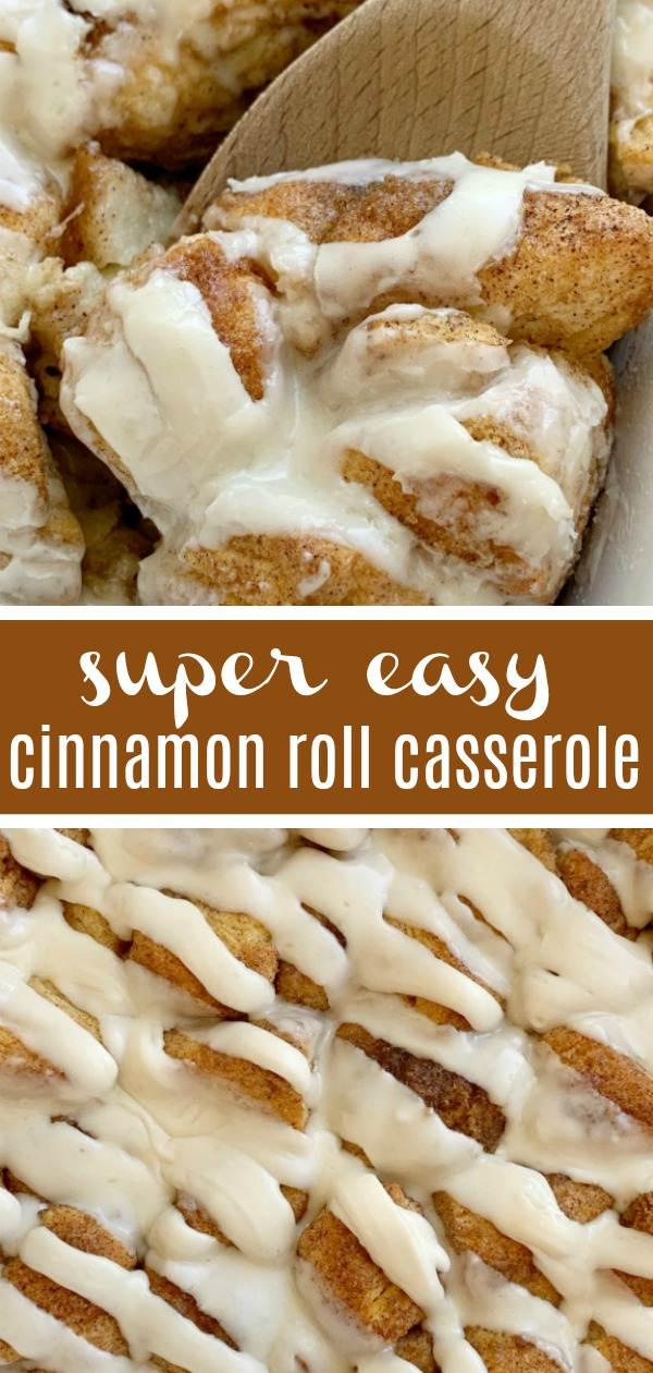 Cinnamon Roll Casserole is so easy and simple to make! Biscuits covered in cinnamon, sugar, and butter. Little cinnamon roll bites in an easy to make breakfast casserole.