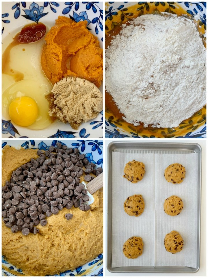 Pumpkin Chocolate Chip Cookies just like you find at a bakery! Big cookies that are soft-baked, loaded with milk chocolate chips, and all the warm pumpkin spices.