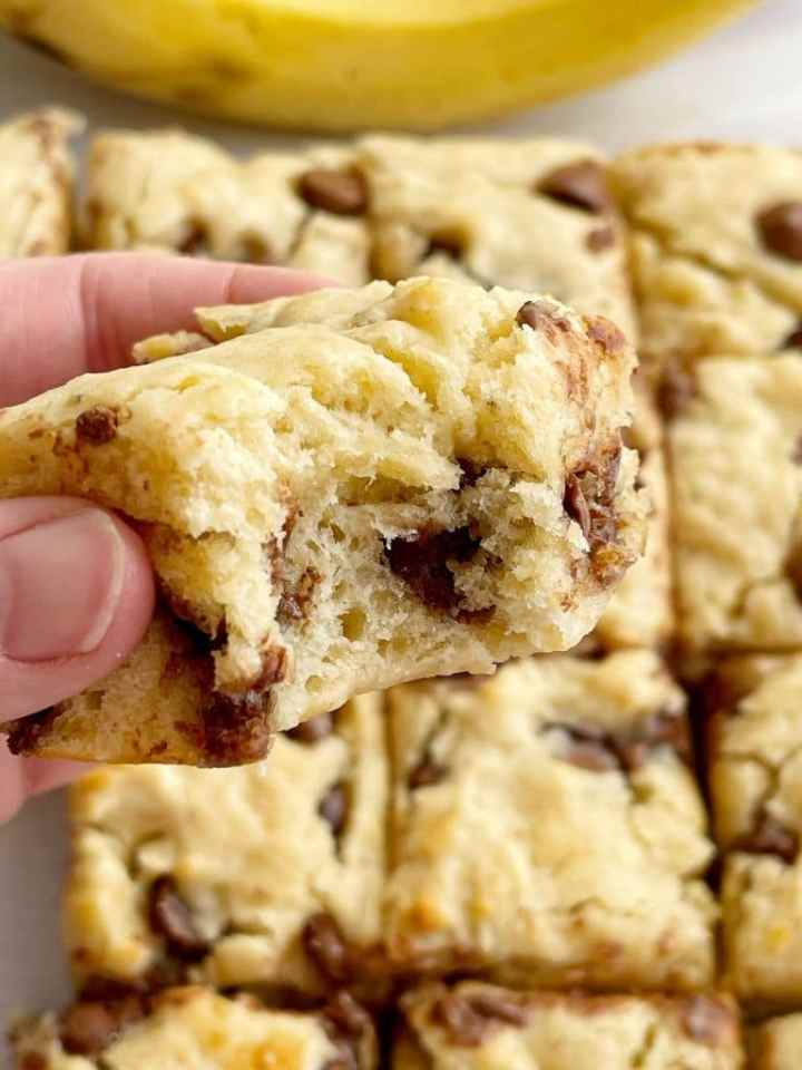 Banana Snack Bars recipe is the perfect after school snack with Greek yogurt and chocolate chips.